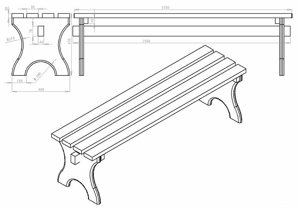 Схема скамейки со спинкой из дерева своими руками